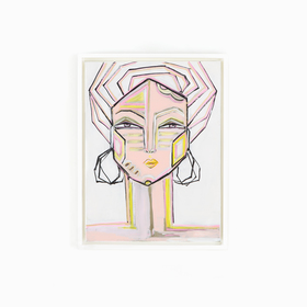 Abstract face canvas art in white frame on white wall