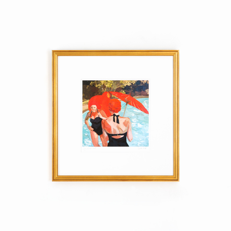 Ladies with umbrellas in gold frame on white wall