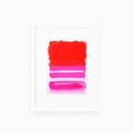 Abstract red and pink art white frame white wall