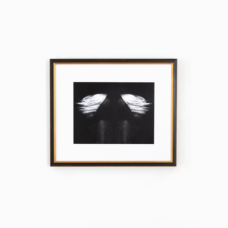 Abstract hair black gold frame white wall