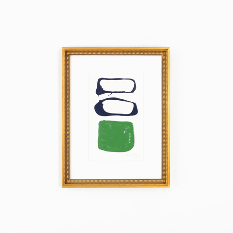 Navy green abstract art gold frame white wall