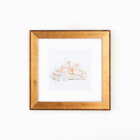 Geode art in wide gold frame on white wall