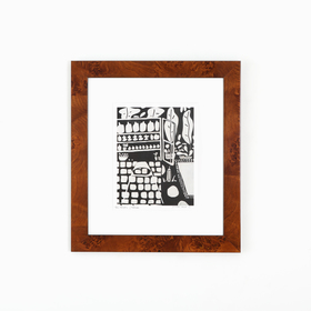 Black and white art in lacquered tiger wood frame on white wall