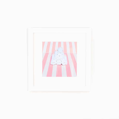 Towel stripes photo white frame white wall