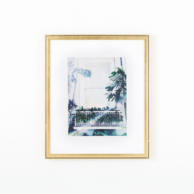 Gold frame with plant window photo on white wall