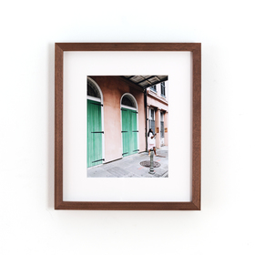 Walnut Gallery Product Photo with white mat and photo of colorful doors